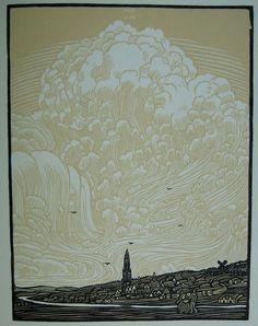 Wijnand Otto Jan Nieuwenkamp, Rhenen, Woodcut, 1911. Thank you, yama-bato.