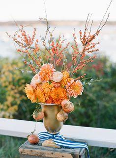 dahlia, pomegranate, berry, eucalyptus pod wedding ceremony florals by lovely little details
