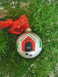 Dog House Ornament - Personalized Handpainted Christmas Ornament