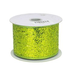 Glitter Ribbon Wired Edge, 2-1/2-inch, 10-yard, Apple Green