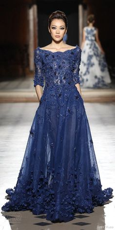 tony ward couture fall winter 2015 2016 look 3 embellished blue gown applique three quarter sleeves scalloped neckline -- Tony Ward Fall/Winter Couture Collection Beautiful Gowns, Beautiful Outfits, Elegant Dresses, Pretty Dresses, Couture Dresses, Fashion Dresses, Evening Dresses, Prom Dresses, Dress Prom