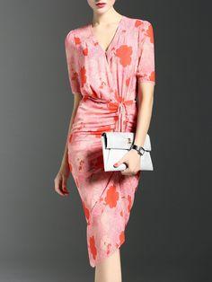Shop Midi Dresses - V Neck Elegant Shirred Short Sleeve Midi Dress online. Discover unique designers fashion at StyleWe.com.