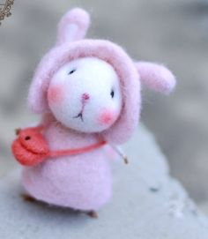 have a happy cute and kawaii easter followers bunny time wool felt diy kit needle felt kit --- mice  style 108 by nowmyfindings on Etsy
