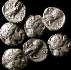 Ancient Resource: Athens Greece Coins for Sale-Athena and the Athenian Owl Antique Coins, Old Coins, Rare Coins, Greek Artifacts, Ancient Artifacts, Ancient Greek Art, Ancient Greece, Egyptian Art, Ancient Egypt