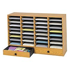 """$199.99 Office Depot Safco® Adjustable Wood Literature Organizer, 25 3/8""""H x 39 3/8""""W x 11 3/4""""D, 32 Compartments, 2 Drawers, Oak"""