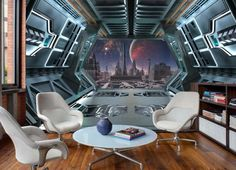 View Plantes And City From Spaceship Art Wall Murals Wallpaper Decals Prints Decor Spaceship Interior, Futuristic Interior, Spaceship Art, Spaceship Design, Spaceship Concept, Bridge Wallpaper, Unique Wallpaper, Decoration, Wall Murals