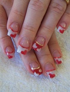 Here's another alternative when you're getting a bit tired of old regular French tips. And never forget the hearts.