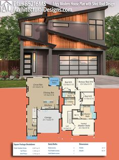 Wonderful Architectural Designs Modern House Plan 85216MS Gives You 4 Beds And Over  2,900 Square Feet Of
