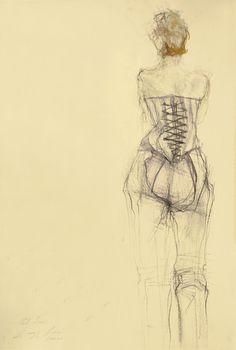Original drawing Fashion Drawing I  mixed media on door uterathmann