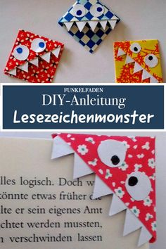 Simple crafting guide for bookmark monsters Instructions for crafting bookmark corners as a monster bookmark. Ideal for crafting for and with children, craft project for school and kindergarten. Arts And Crafts For Teens, Art Projects For Adults, Toddler Art Projects, Diy For Teens, Craft Projects, Diy Crafts To Do, Easy Crafts, Creative Crafts, Diy Niños Manualidades