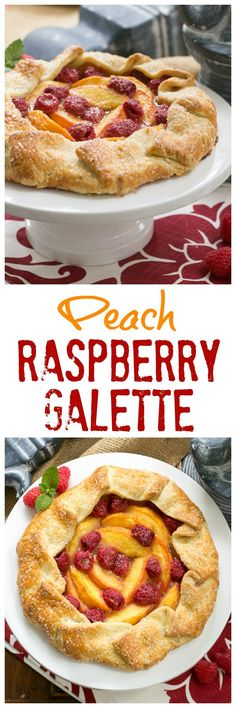 Peach Raspberry Galette | A rustic tart that's so much easier to make than pie! @lizzydo