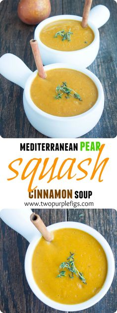 Mediterranean pear cinnamon squash soup is a beautiful fusion of Spain and Morocco with a load of protein, fibre and veggie goodness. It's warm, comforting and a perfect rainy day companion--a must try flavor and mood booster! www.twopurplefigs.com