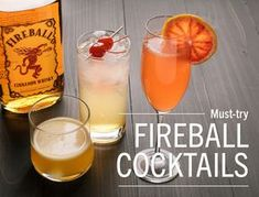 Fireball Cocktails If you like Fireball Cinnamon Whisky, you'll love these deliciously sweet and spicy cocktails! Cinnamon Old Fashioned 2 servings Preparation time: 10 minutes Ingredients 3 ounces. Cocktail Drinks, Fun Drinks, Cocktail Recipes, Alcoholic Drinks, Beverages, Beach Drinks, Liquor Drinks, Yummy Drinks, Fireball Recipes