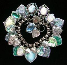Vintage Heart Charm Bracelet Cameo Czech Glass Button Book Chain Enamel Flowers   eBay