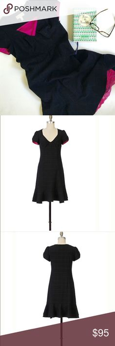 """Anthropologie Moulinette Souers Dress Anthropologie Moulinette Souers """"Blackboard Dress"""" is a recitation of a black twill with a chalky windowpane plaid, ruched sleeves and a disobedient pop of berry lining. Side zip. 37.75""""L. Size 2. This dress is Sold Out! Worn twice and in EUC Anthropologie Dresses Midi"""