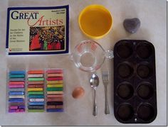 How To Make Egg Tempera-- a great art history/science lesson. It's also a lot of fun. When we did this, we used a different recipe. Try drying each egg yolk with a paper towel to remove excess whites. This should cut down on the foaming. Also, substitute some of the water with a couple drops of white vinegar. We used crushed eyeshadow, charcoal from the fire pit, cocoa powder, turmeric, and gatorade as fun experiments in pigmenting!