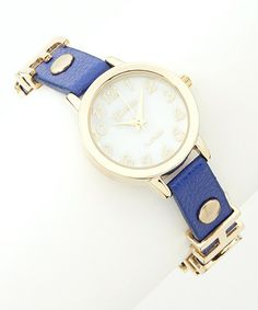 Take a look at this Blue & Gold 'Love, Hope' Watch by Geneva Platinum on #zulily today!
