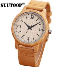 SUUTOOP Bamboo Wood Watch Women's watches Quartz Wooden Design Wristwatches Cowhide Leather fashion simple Relogio Masculino //Price: $26.50 & FREE Shipping //     #hashtag2