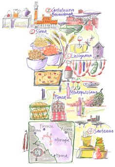 Giulia Binfield - Food map illustration of Tuscan for LaRepubblica