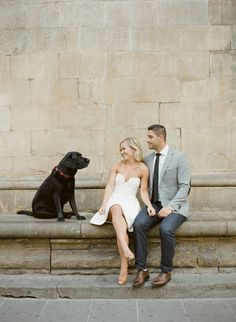 Black lab crashes this Italy-inspired engagement shoot! http://www.stylemepretty.com/2016/09/13/florence-italy-engagement-session/ Photography: KT Merry - https://www.ktmerry.com/