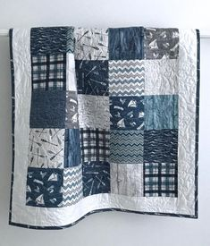 Baby Boy Patchwork Quilt A day At The Lake Collection Blue Gray Ivory White Baby Patchwork Quilt, Grey Quilt, Baby Girl Quilts, Girls Quilts, Quilt Baby, Owl Quilts, Blue Quilts, Crib Quilts, White Quilts