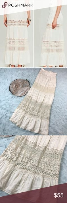 """Free People XS Woodstock Kace Crochet Maxi Skirt Free People woodstock kace skirt. Women's size XS, gently used with no flaws  Waist laying flat- 13"""" Length- 45"""" Free People Skirts Maxi"""