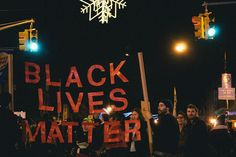 "A ""Black Lives Matter"" protest sign in New York"