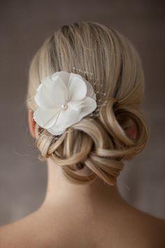 """Bridal Silk Flower, Wedding Hair Flower, Netting - """"Eva"""""""
