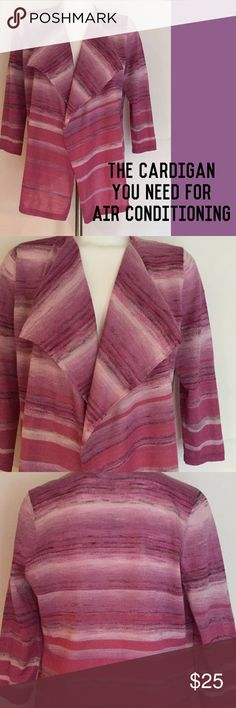 Dress Barn Open Cardigan  Dress Barn open cardigan sweater in pinks, light purplish pink, heather brown, white and smaller coral shimmering stripes.  New With Tags. Size Large. Dress Barn Sweaters Cardigans