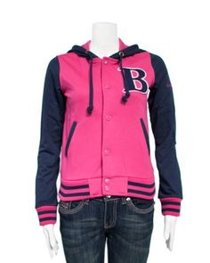 Fuchsia Pink Navy Blue Ladies Hooded Jersey Letterman B Jacket Varsity Team 28 Shoulder Clothes Effect. $27.50