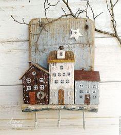 Купить Ключница/вешалка 'Весенний вечер' домики у моря - белый, домики, домик на море, приморский городок