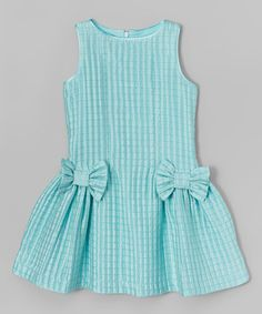 Aqua Check Bow Dress - Girls #zulily #zulilyfinds