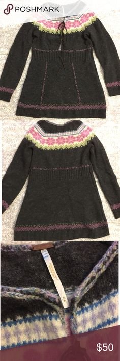 Free People fair isle sweater tunic Free People dark gray fair isle sweater tunic with lace up leather detail. Excellent condition. Free People Sweaters