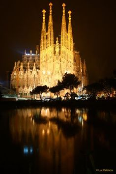 Antoni Gaudi's masterpiece: La Sagrada Familia at night (Barcelona, Spain)