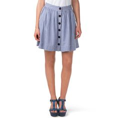 Nautical skirt in alternating stripes and accent placket along the centre. Cotton construction, mid-length styling that hits at the thigh. Small pleats from the waist down. Classic A-frame styling with small pockets at the hips. Accent tape and Hilfiger Denim logo inside the waistband. Our model is 1.76m and is wearing a size S skirt.