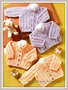 "PDF Knitting Pattern for Baby/Toddler Cardigans to fit Premature 12 to 22""  - Instant Download"