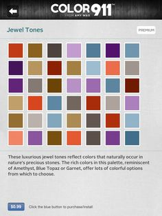 Jewel Tones  One of the themes offered as inspiration from the Color911 App - check out Color911.com