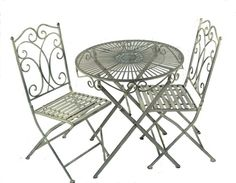 Ascalon Heritage Bistro Set in Grey which features a round table and 2 chairs for outdoor use.Ornate swirl design and finished in grey coloured paint. Made from sturdy metal which is easy to put together as the table top bolts on. From Lock Stock and Barrel Furniture.