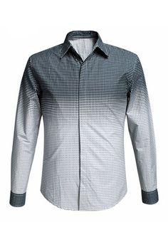 $21.06 Men's Gradient Color Plaid Shirt