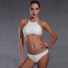 447a067acc Summer One High Neck Crop Top Sexy Mesh Crochet Lace Floral Bikini Set  swimming suit for