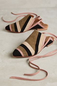 Luiza Perea Suede Ankle-Wrap Mules #anthropologie
