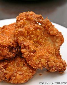 Deep-fried Cornflake Chicken Schnitzel