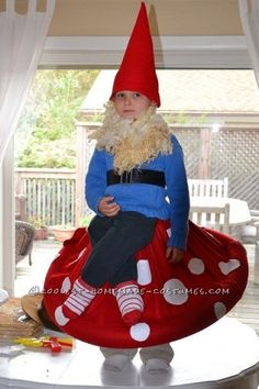I had to make this Gnome on a Toadstool after seeing this costume on your site!! I used a red fleece blanket from Old Navy, 2 pool noodles, white felt...