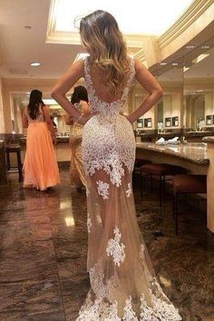 Sheath Scoop Tulle Long Backless Prom Dress With White Lace Appliques OK578
