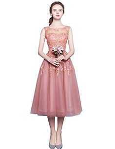 EnjoyBridal Tulle Lace Pearls Pink Wedding Party Gown Tea Length Prom Dress US10 * See this great product.