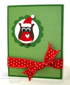 Santa Owl Card using owl punch scallop punch and circle punch