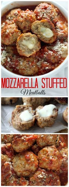 30 Minute Mozzarella Stuffed Turkey Meatballs with Homemade Marinara Sauce - quick, healthy and SO delicious! Italian Recipes, Beef Recipes, Cooking Recipes, Healthy Recipes, Homemade Meatball Recipes, Turkey Meat Recipes, Tasty Meals, Quick Healthy Meals, Meatloaf Recipes