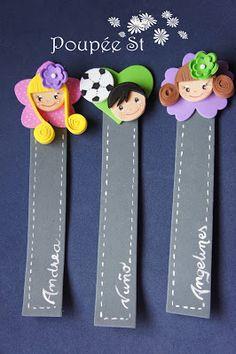 Poupée ST: GOMA EVA: Marcapáginas personalizados. Best Bookmarks, Creative Bookmarks, Paper Bookmarks, Corner Bookmarks, Foam Crafts, Diy And Crafts, Crafts For Kids, Staff Gifts, Bookmark Craft