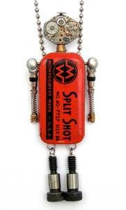 "$160.00  Babybot--Big red Height: 3 3/4"" Principal Components: Watch movement, fishing sinkers tin, valve cores, shoulder bolts  Babybots come in a tin gift box and include a 30"" ball chain that can be easily shortened. Best of all, each one opens up to reveal their heart inside."