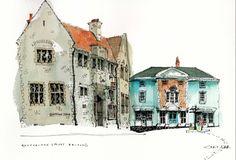 Chris Lee Urban Painting, Pen And Wash, Urban Sketchers, City Art, Watercolor Paintings, Watercolours, Art Sketchbook, Art Sketches, Illustration Art